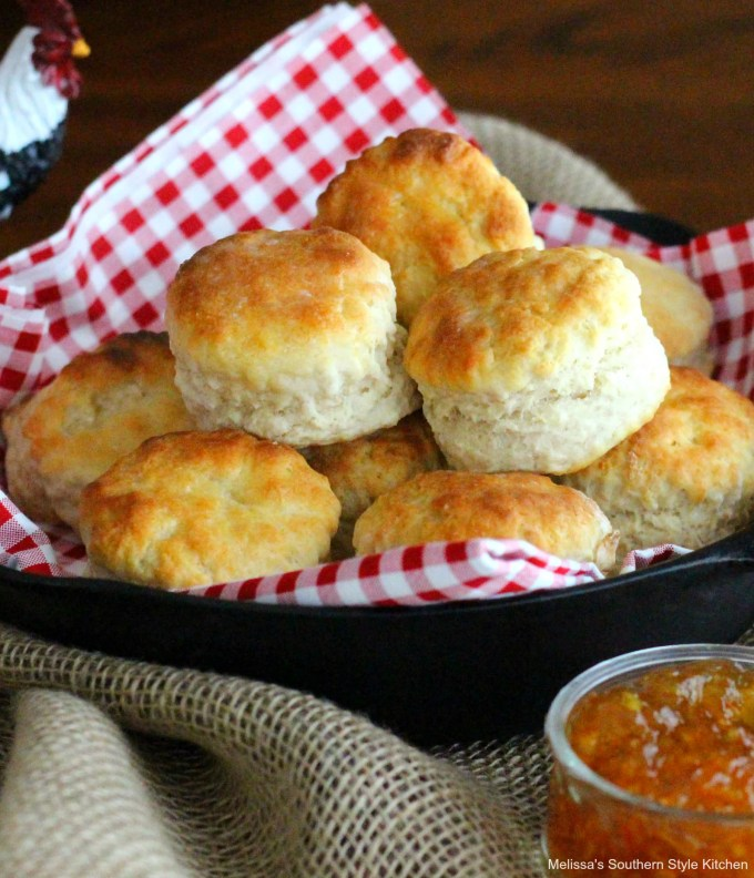 Baked Fluffy Southern Buttermilk Biscuits in a skillet
