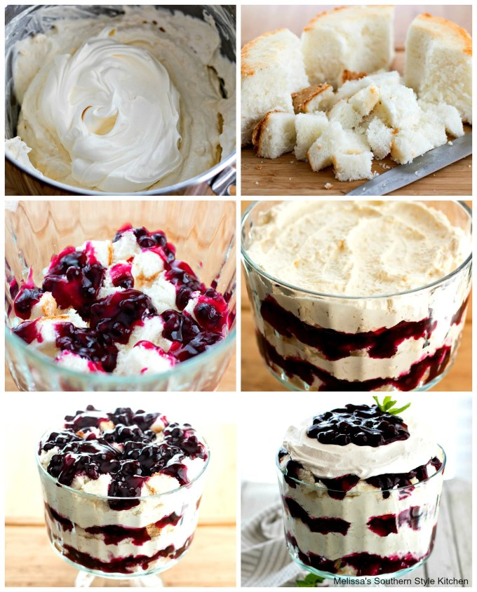 Step-by-step images preparing Easy Blueberry Cheesecake Trifle