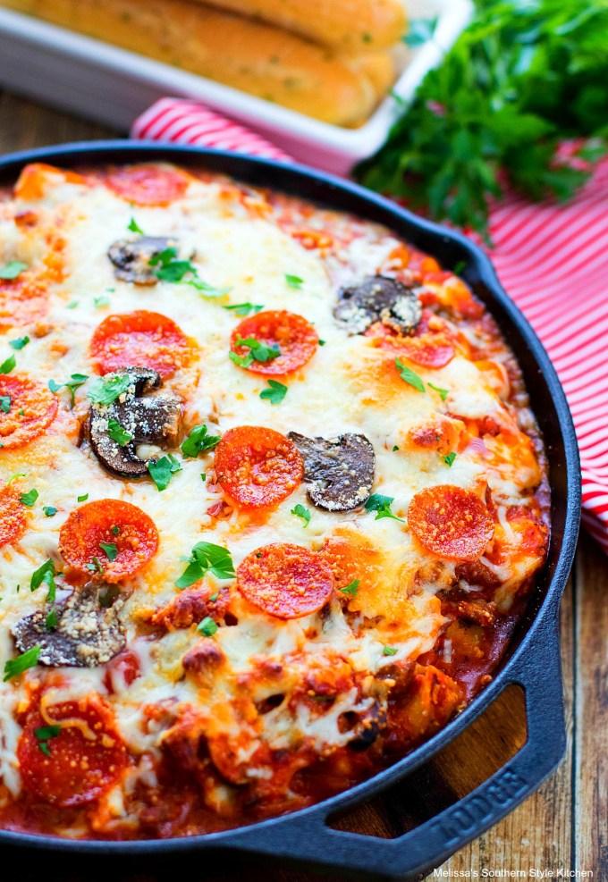 Supreme Pizza Tortellini Bake in a skillet