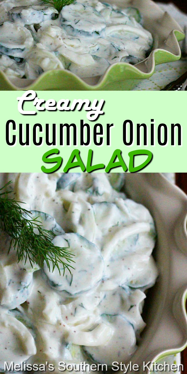 Add this scrumptious Creamy Cucumber Onion Salad to your side dish menu ASAP #cucumbersalad #cucumbers #creamycucumbersalad #saladrecipes #cucumbers #summersides #healthyfood #vegetarian #southernfood #southernrecipes