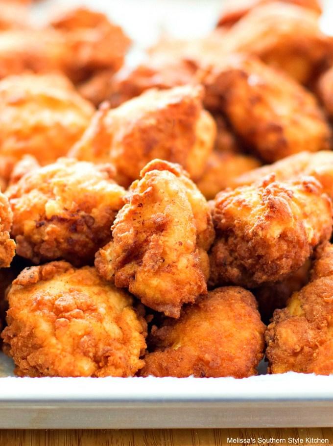 fried popcorn chicken on a pan