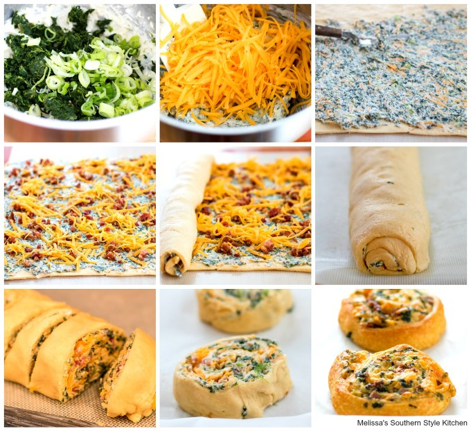 step-by-step preparation images spinach cheese and bacon with crescent rolls on a pan