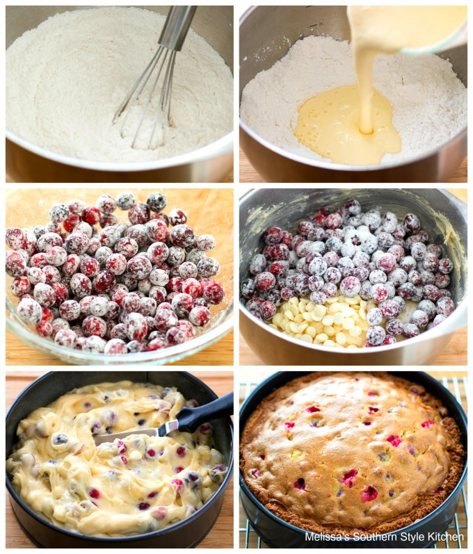 ingredients to make cake with cranberries in a bowl
