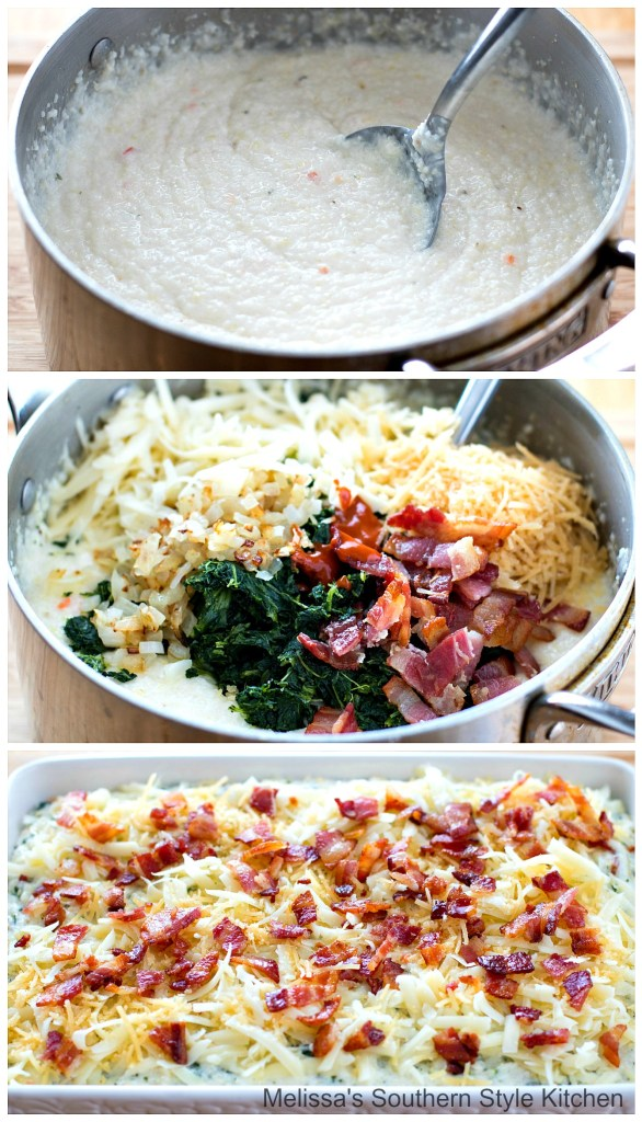grits greens and bacon in a dish