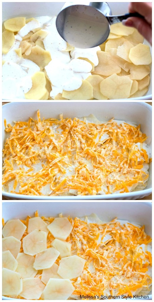 thinly sliced potatoes in a baking dish with shredded cheese