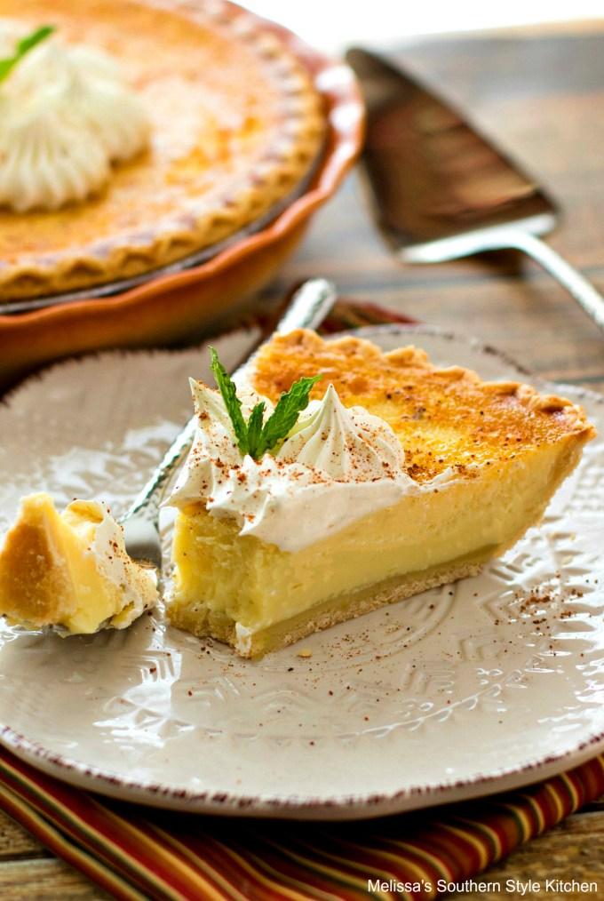 Single piece of custard pie on a plate