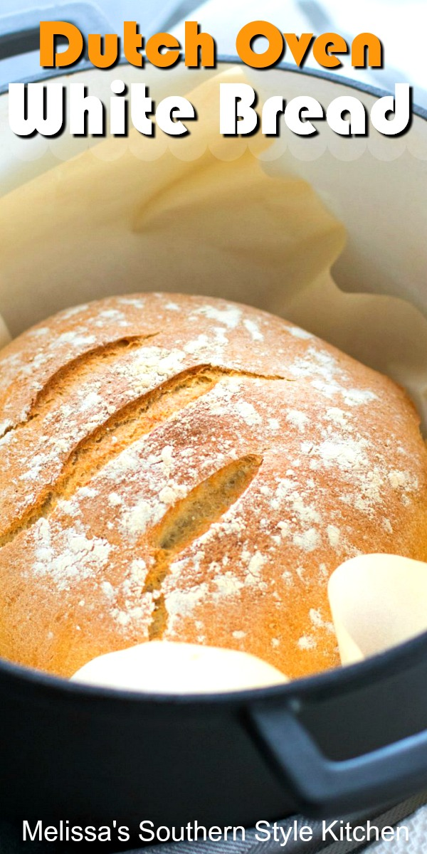 Make your own Dutch Oven Artisan White Bread at home #artisanbread #whitebread #breadrecipes #dutchovenbread #southernrecipes #southernfood