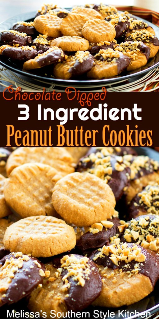 Chocolate Dipped 3 Ingredient Peanut Butter Cookies