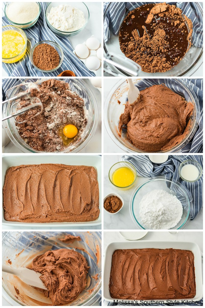 step-by-step preparation images and ingredients for brownies