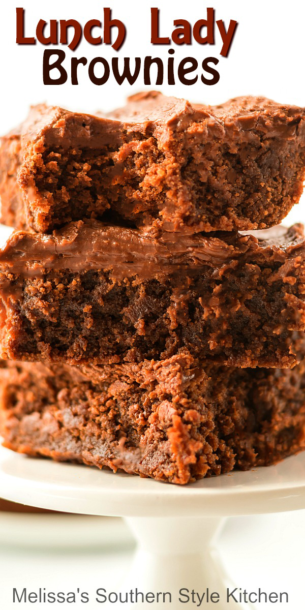 Lunch Lady Brownies are filled with chocolate and a heaping helping of nostalgia #lunchladybrownies #browniesrecipes #brownies #desserts #dessertfoodrecipes #holidaybaking #holidayrecipes #southernfood #southernrecipes