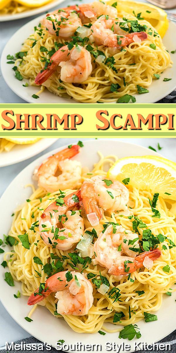 Dine on this restaurant favorite at your own kitchen table Easy Shrimp Scampi #shrimpscampi #shrimp #pasta #easyshrimpscampirecipe #seafoodrecipes #dinner #dinnerideas #lemon #lemonshrimp #southernfood #southernrecipes