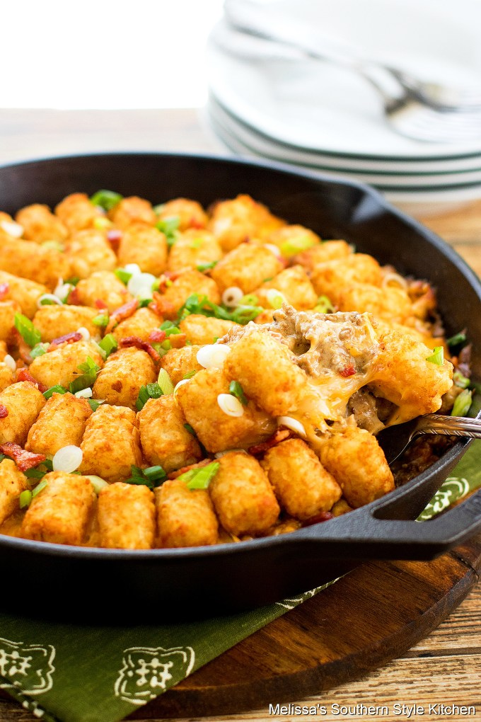 Bacon Cheeseburger Tater Tot Casserole in a cast iron skillet