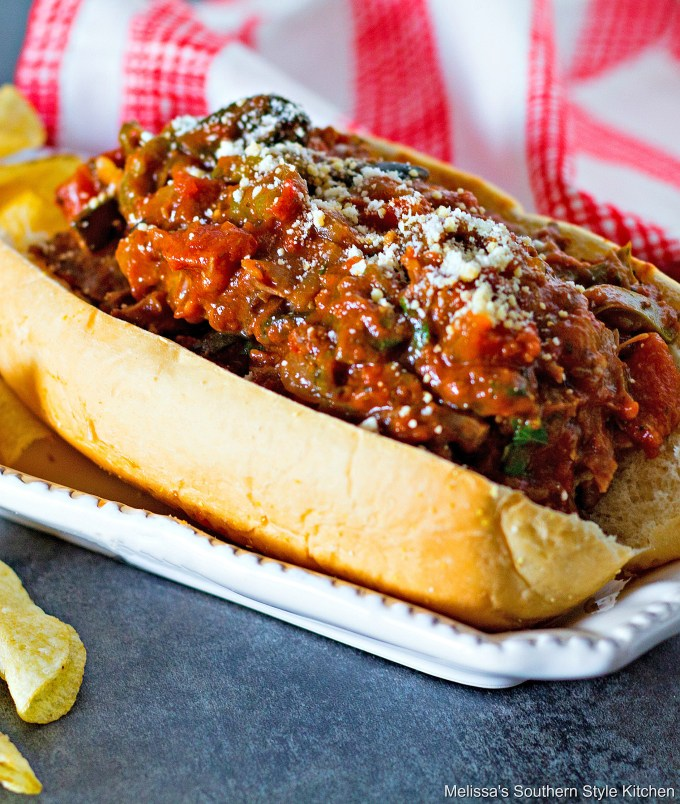 Slow Cooked Italian Beef Hoagies on a roll