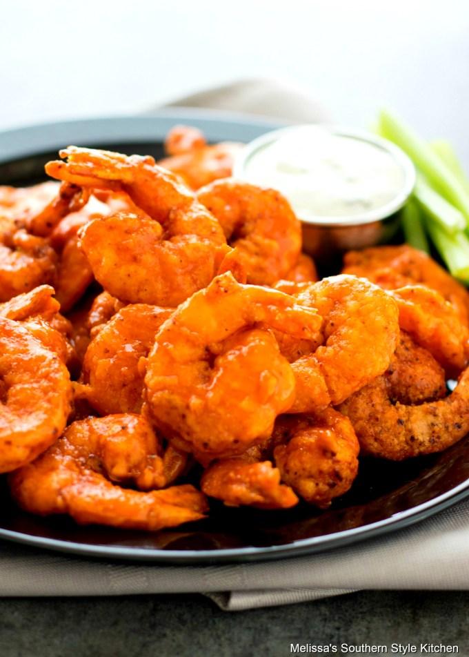Buffalo Shrimp Recipe on a platter