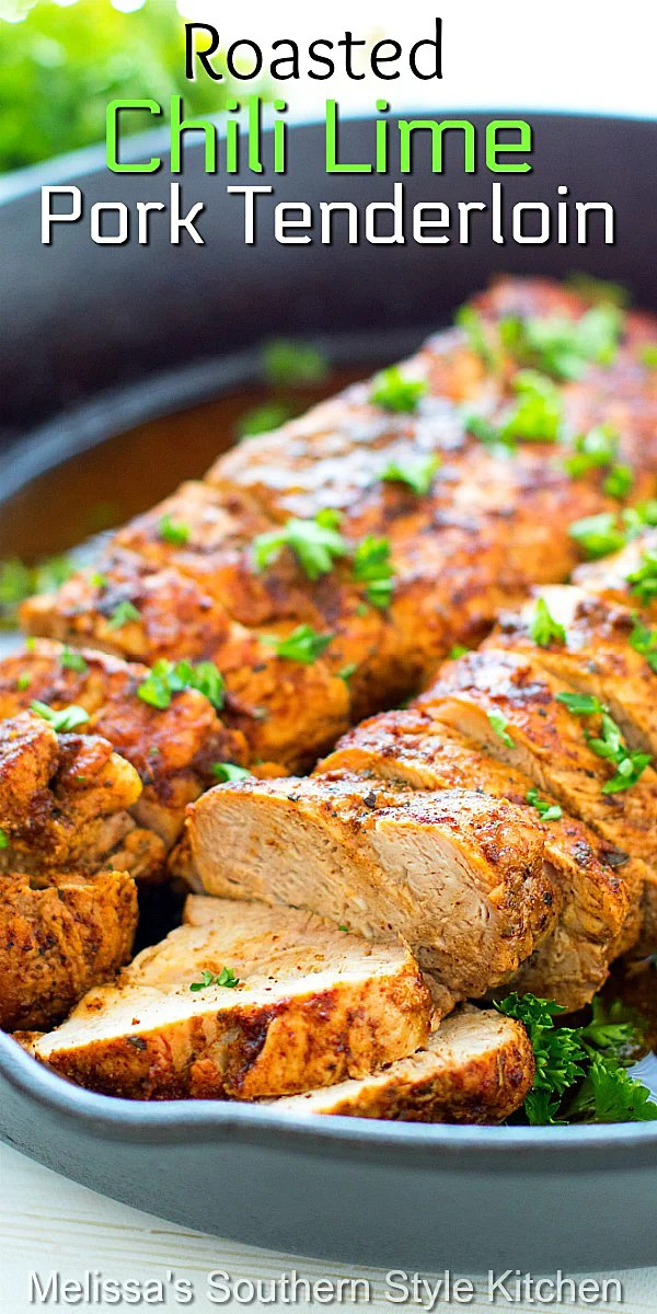Enjoy this company worthy tender pork tenderloin as a simple meal option any day of the week #porktenderloin #chililimepork #pork #roastpork #chililimerub #dinnerideas #dinner #easyrecipes #southernfood #southernrecipes #lowcarb