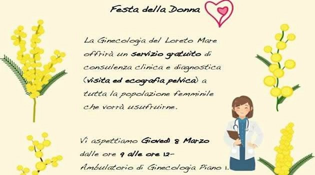 8 Marzo, Festa della Donna: Servizio di consulenza gratuita presso l'ambulatorio di Ginecologia dell'ospedale Loreto Mare