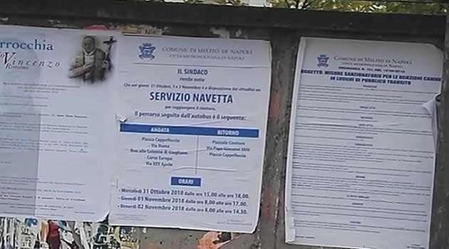 Melito - manifesto servizio navetta x cimitero