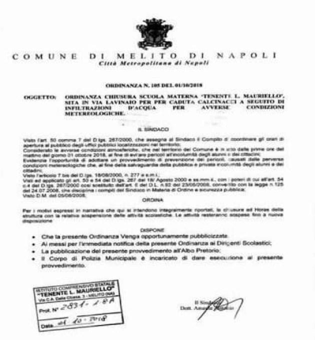 Melito - ordinanza chiusura plesso via Lavinaio