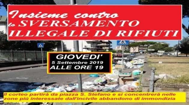 """Giovedì il corteo contro lo sversamento dei rifiuti guidato dal sindaco, Amente: """"Insieme possiamo farcela"""""""