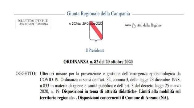 Campania, Covid-19. L'ordinanza vieta gli spostamenti
