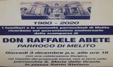 Melito. Messa di commemorazione per Don Raffaele Abete, il parroco di Melito