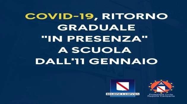 """Covid-19, Ritorno graduale """"in presenza"""". A scuola dall'11 gennaio"""