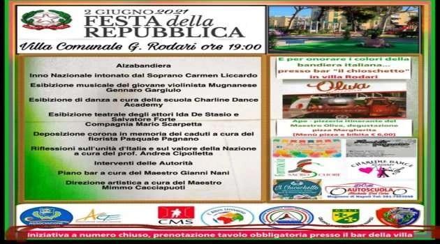 Mugnano: Festa della Repubblica, domani alle 19 l'iniziativa in Villa Rodari