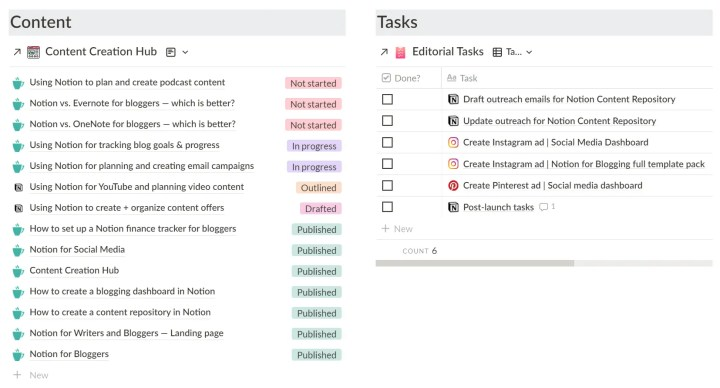notion blog tasks my content setup