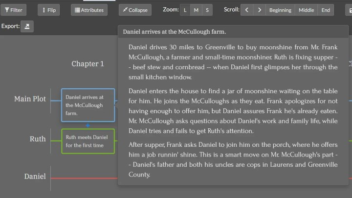 screenshot of description on hover plottr review 2021
