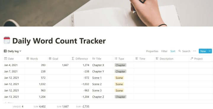 word count tracker template notion screenshot