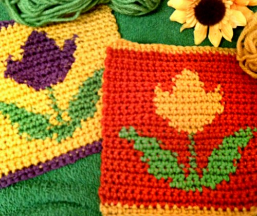 Crochet Tulip Flower Square