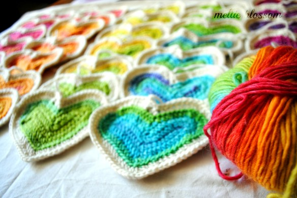 Crochet Rainbow Hearts
