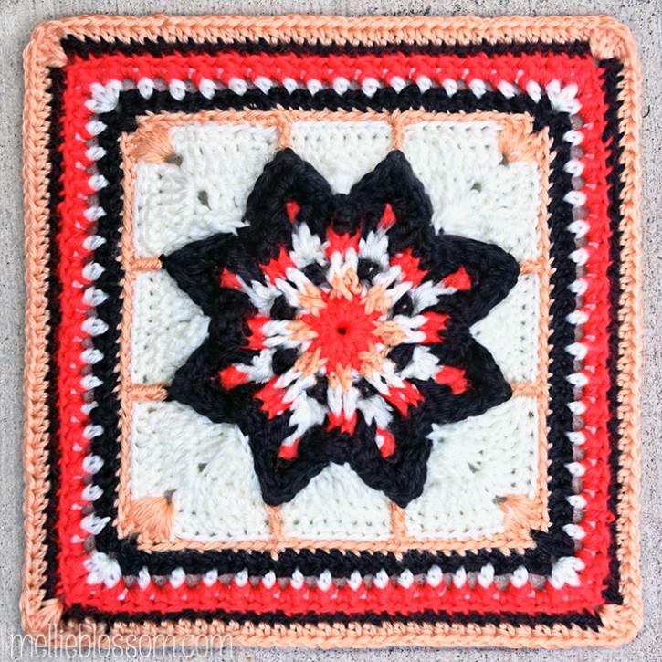 2016 Crochet Along Squares - Universal Star Square - mellieblossom.com