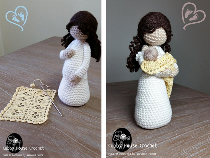 Recent Crochet Pattern Purchases -Mother Nursing her Newborn and Mother-to-be EVE by Veronica McRae - mellieblossom.com