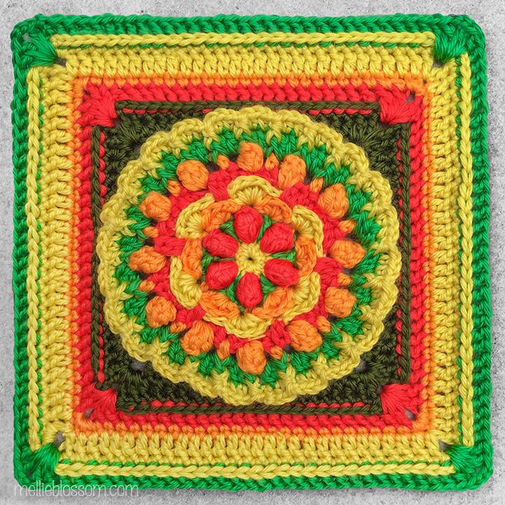 Popcorns Dancing in the Field Crochet Square - mellieblossom.com