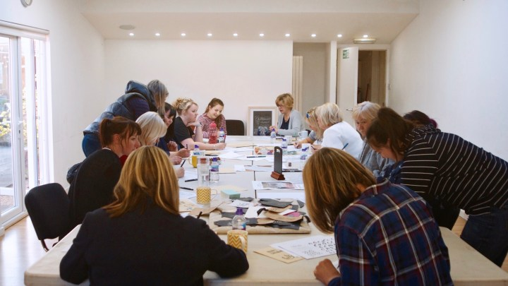 Modern Calligraphy Workshops at Cedar Farm with Mellor & Rose in Mawdesley