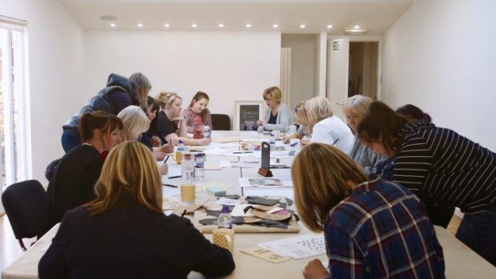 Modern Calligraphy & Brush Lettering workshops at Cedar Farm Galleries with Mellor and Rose in Mawdesley