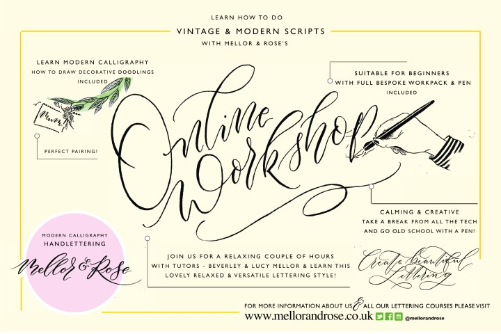Online Modern Calligraphy Workshop Mellor & Rose