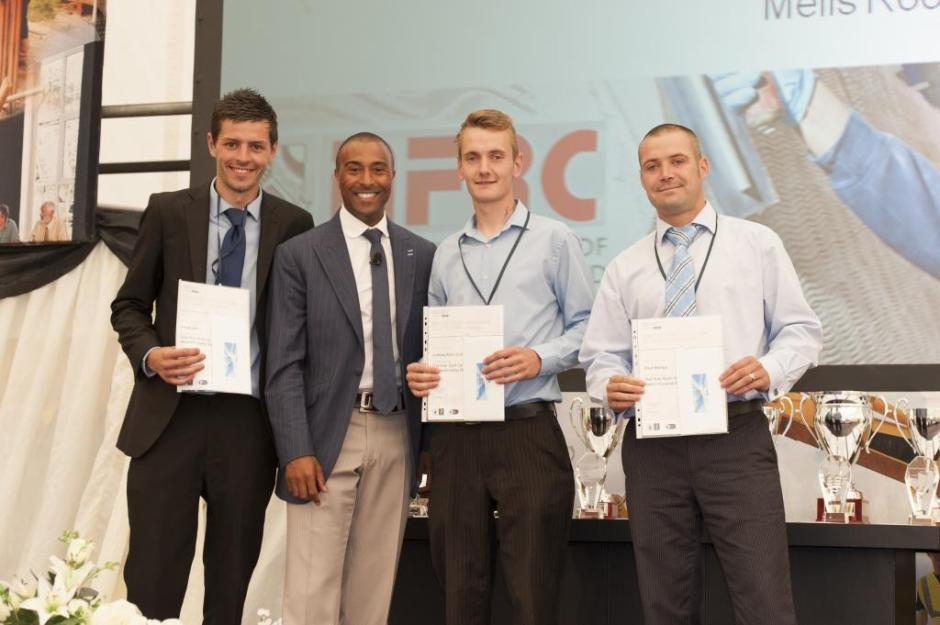 Josh and Lloyd (far left) with Colin Jackson and a roofing apprenticeship colleague