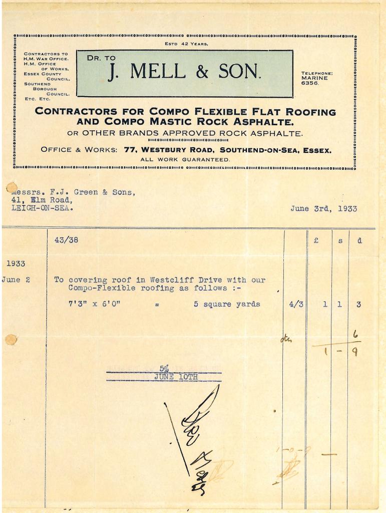 Mells Invoice 1933