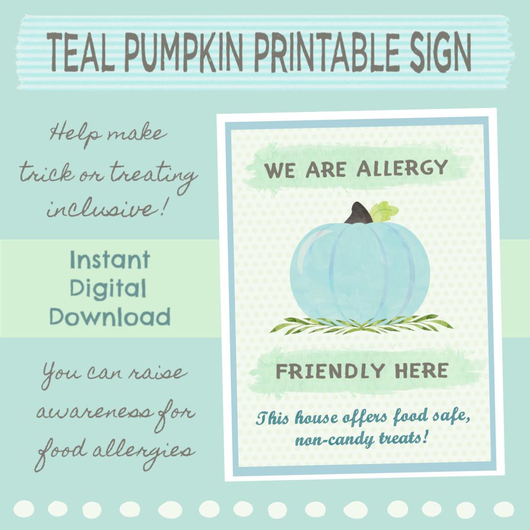 graphic relating to Teal Pumpkin Printable named Teal Pumpkin Venture: Allergy Understanding