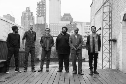 Vijay Iyer Sextet: Mark Shim, Steve Lehman, Stephan Crump, Tyshawn Sorey, Graham Haynes, Vijay Iyer. Photo by Lynne Harty.