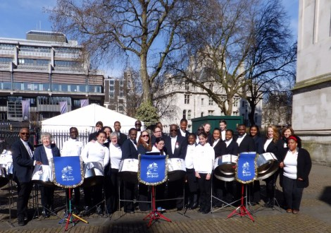 The Melodians outside Westminster Abbey on Commonwealth Day 2016