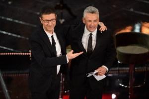 Roberto Baggio and Fabio Fazio all'Ariston | © Daniele Venturelli/Getty Images