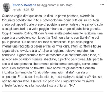© Facebook / Enrico Mentana