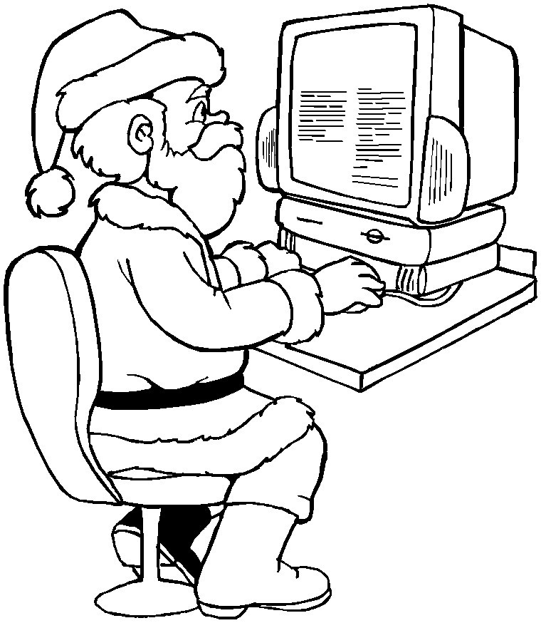 Printable Christmas Coloring Page Santa With A Computer