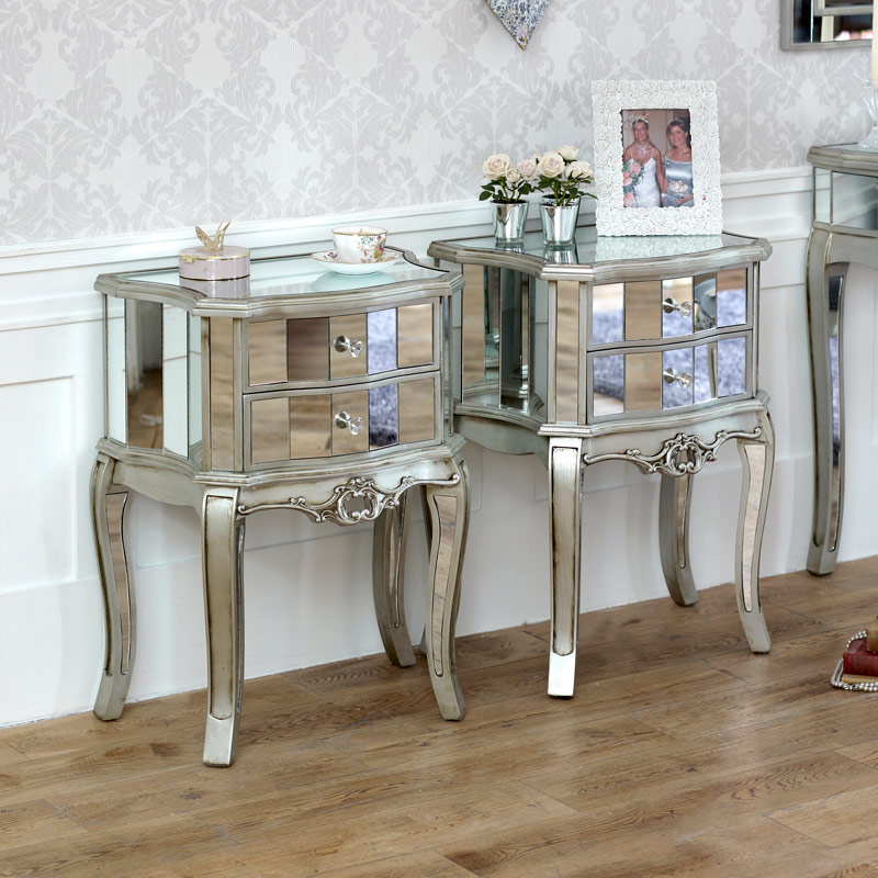 bedroom furniture silver mirrored chest of drawers pair of bedside tables tiffany range