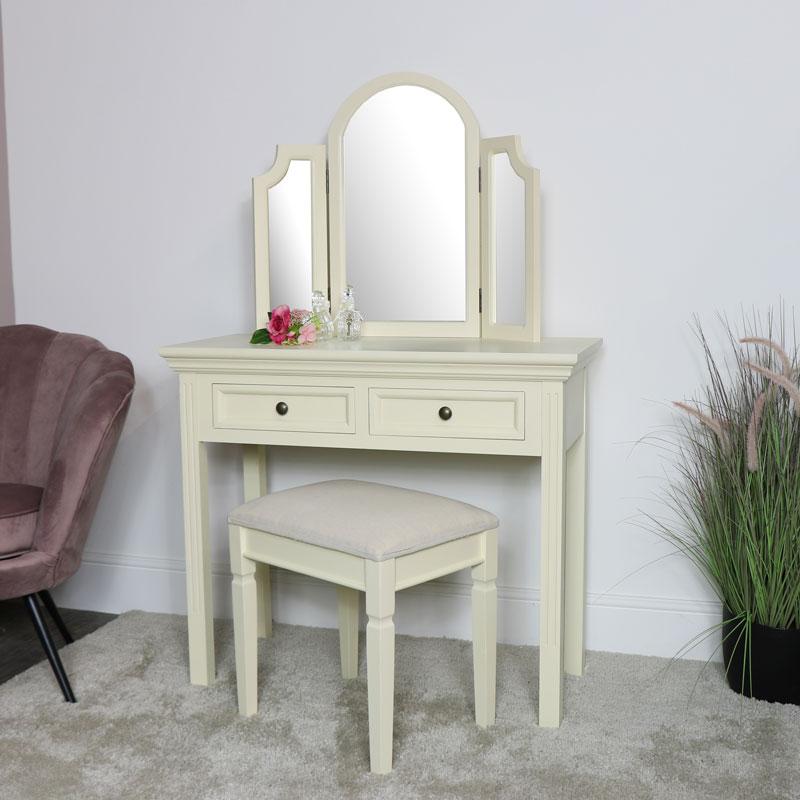 cream dressing table mirror stool set daventry cream range