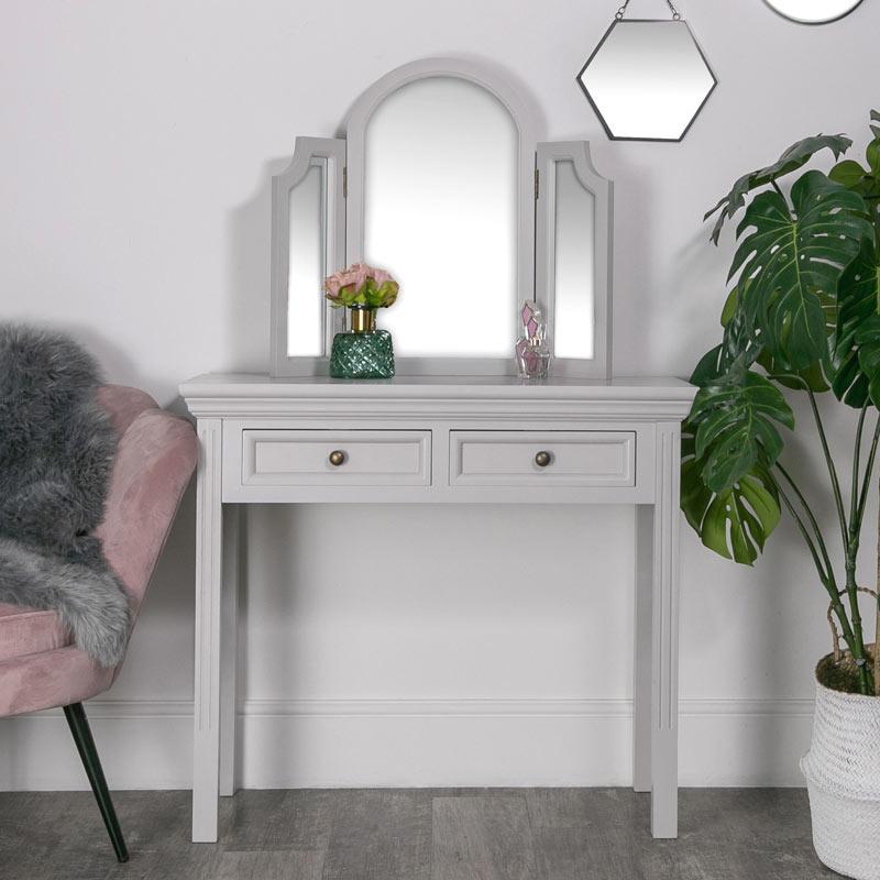 Dressing Table Mirror Set Daventry Dove Grey Range Melody Maison