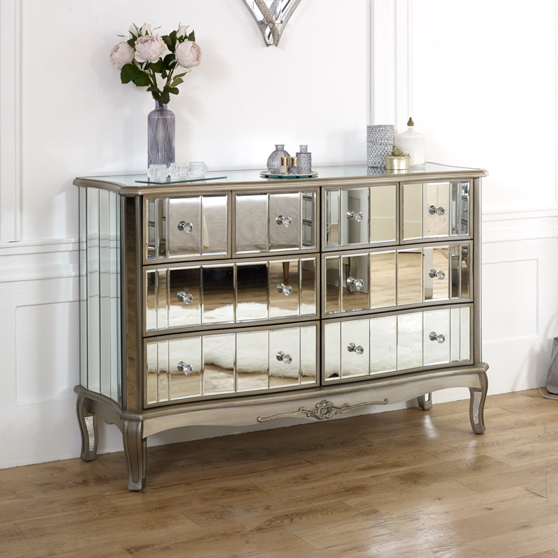 extra large mirrored chest of drawers tiffany range